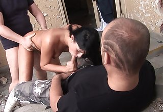 Amateur ass fucked off out of one's mind two random dudes coupled with jizzed on face