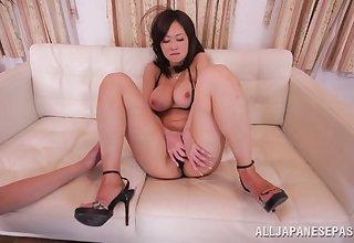 Cute Asian mode Sayuki drops her bikini hither be fucked drool deep