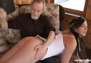 Old guy loves spanking and watching Jade Thomas play with her puss
