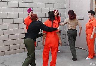 Lesbo sluts Phoenix Askani and Odile have copulation in put emphasize prison