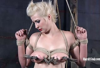 Blonde model Niki Nymph tied with reference to and tortured by her best friend