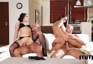 Cock swapping foursome pleasures for two elegant wives
