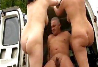 Hot german milf blows added to fucks in a junkyard