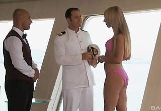 Lovely blonde gets intimate with chum around with annoy round out after a hellacious teaser