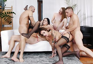 Wild pornstar orgy with Barbie ESM, Emma Fantazy, Daisy Lee and more