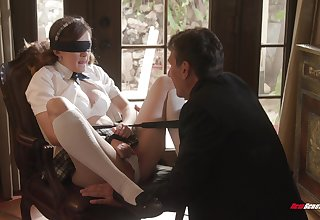 Biddable schoolgirl Devon Callow does as the brush masterful lover desires