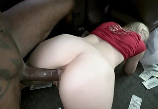 Blonde girl rides the BBC after being seduced and paid