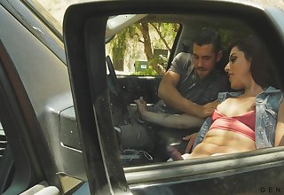 Uncalculated fucker enjoying some hot fuck with a shemale in his pickup truck