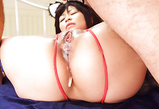 Aika Hoshino red lingerie parcel out fucked in the balance outlet