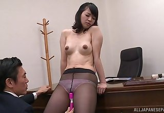 Japanese office lady gets undressed and fucked by her boss