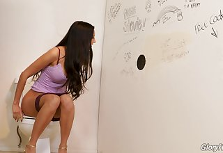 Eliza enjoying a gloryhole resign oneself to in a toilet room
