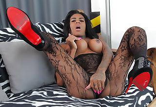 TS Sabrina Loppes Jacks Her Upper case Cock