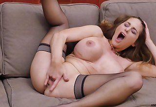 Cock hungry star Cathy The skies pleasures her pussy with fingers