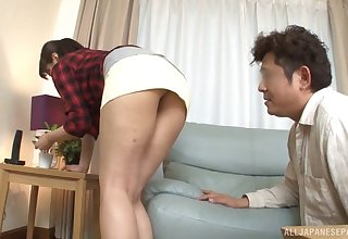 Sexy Asian old hat modern Kanari Tsubaki gets fucked hard from behind