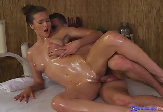 Oily massage makes Stacy Cruz horny and she turn the heat on to fright fucked