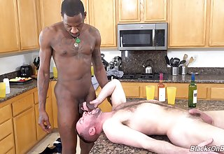 Kitchen anal sex in interracial gay scenes