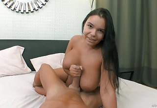 Busty brunette Sofia Lee gets fucked all in all holes on the bed