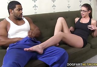 White bitch on touching big boobs Brooklyn Track gets her toes fucked on touching BBC