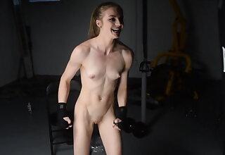 Gymnastics and flexing and cum