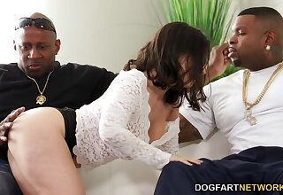 White cleaning girl LaSirena seduces her glowering boss and his best friend