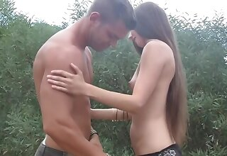 Adorable night-time girl Leila gets nailed by two guys