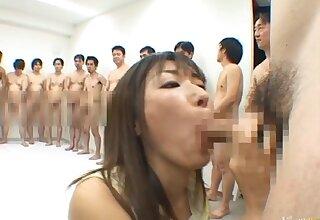 Appealing Japanese round hot bukkake session