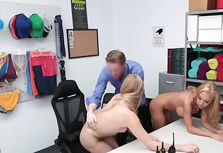 Blonde woman and stepdaughter punished by cock for shoplifting
