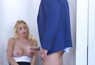 Boss offers hard cock here excited secretary beside the restroom