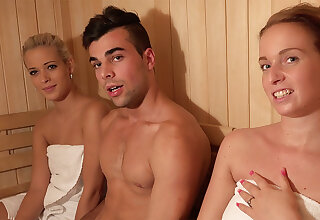 Youthfull four have anal invasion hump four entry-way sauna
