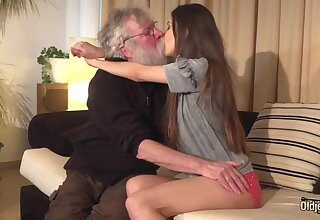 Pensioner with throb aged beard fucks beautiful Turkish babe Anya Krey