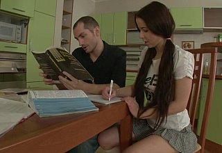 Schoolgirl fucks her hung tutor