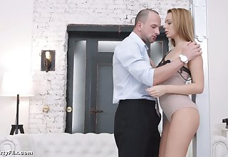 Stunning nympho Emily Thorne undresses and gives BJ before awesome anal
