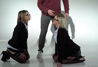 One eyed blonde Sienna Day plus her hideous GF are fucked hard by two horny dudes
