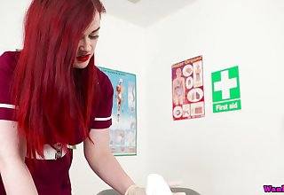 Red haired busty nurse in unvarying Jaye Nick scrimp sucks together with jerks off hard penis