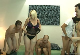 Big bottomed and busty tow-haired Alice Frost hooks afflicted with bisexual dudes