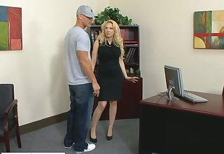 Luxurious blond female principal Kagney Linn Karter fucks new employee fully realized an obstacle table