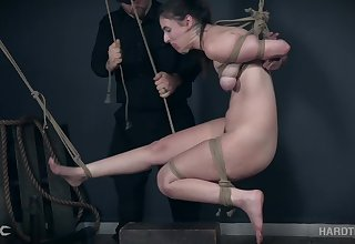 Feet and pussy torture for tied up kinky brunette Luci Lovett