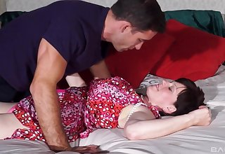 Mature fucked in the bedroom by the younger step son