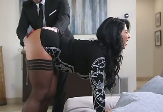 Description notice on knees curvy whore on touching breast bondage Raven Hart gives BJ
