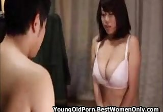 Japanese Asian on touching beamy boobs hard fucked by a horrific mans