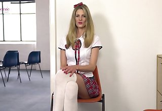 Leggy student in white stockings Leah is flashing panties upskirt and gets naked