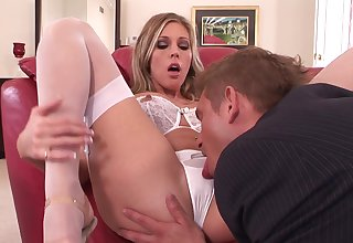 Samantha Saint wears her white lingerie at near intensive making love
