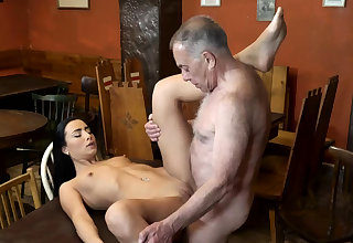 Ancient alms-man fuck anal with an increment of young kissing first time saw his