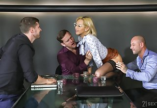 Blonde natural knockers model Veronica Leal fucked in gangbang