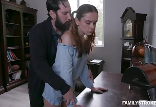Jealous stepdad spanks and fucks enticing ginger stepdaughter Lily Bliss