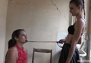 Phthisic wicked blooper dominates a slave bigger than her