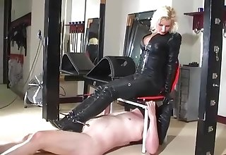 Leather ass licking