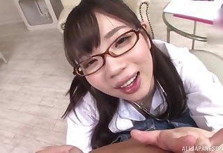 Japanese schoogirl kneels for bit daddy before going to school