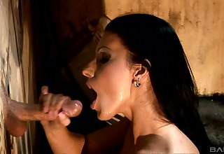 Erotic dick sucking thru a gloryhole with pornstar Cindy Hope