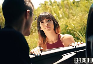Sexy newcomer Kitty Carrera is face fucked by stranger driver